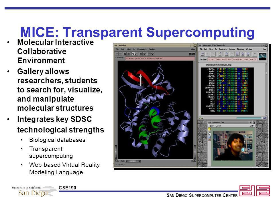 S AN D IEGO S UPERCOMPUTER C ENTER CSE190 The Protein Data Bank World's single scientific resource for depositing and searching protein structures Protein structure data growing exponentially 10,500 structures in PDB today 20,000 by the year 2001 Vital to the advancement of biological sciences Working towards a digital continuum from primary data to final scientific publication Capture of primary data from high- energy synchrotrons (e.g.