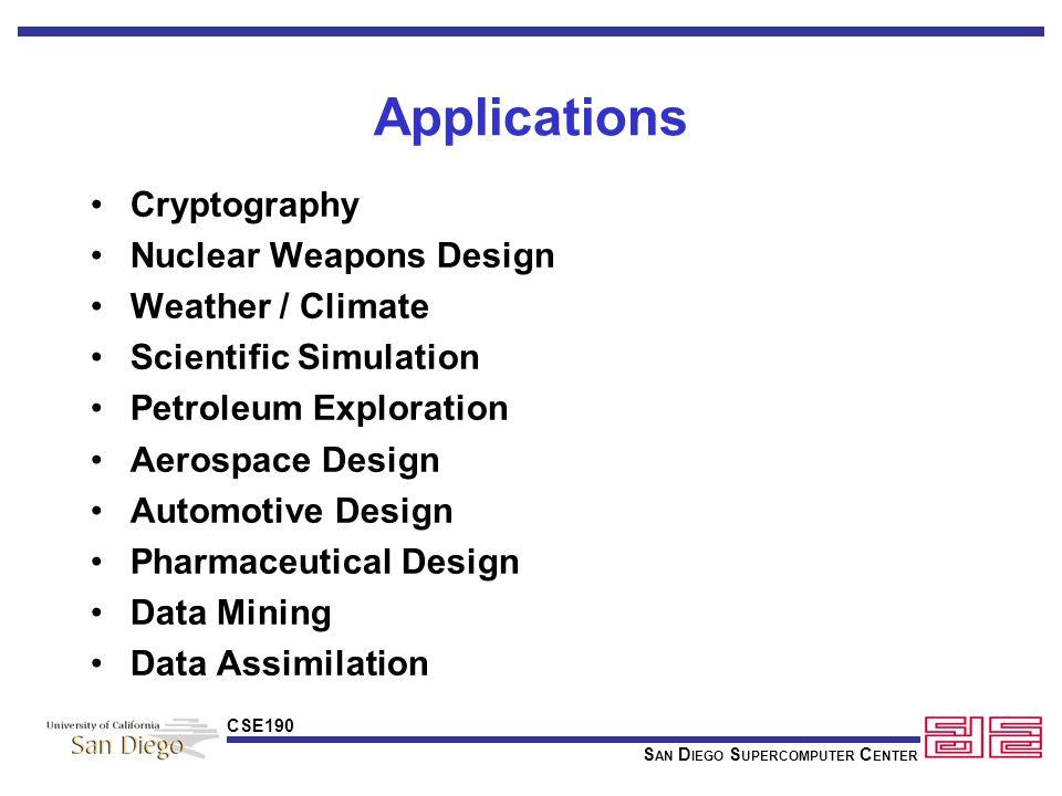 S AN D IEGO S UPERCOMPUTER C ENTER CSE190 Applications cont'd.