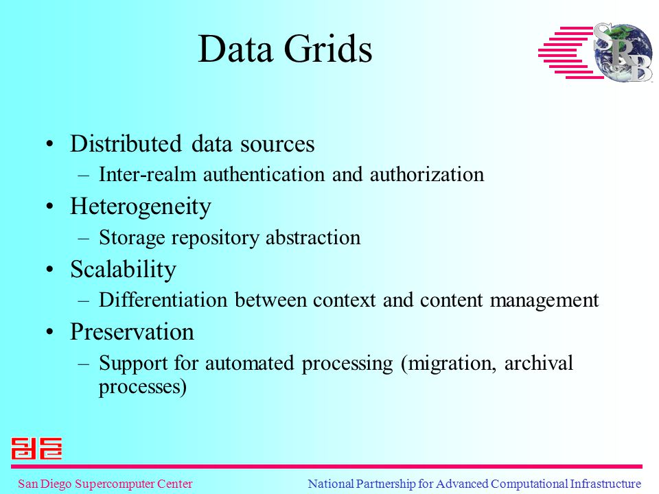 San Diego Supercomputer Center National Partnership for Advanced Computational Infrastructure Data Grids Distributed data sources –Inter-realm authent