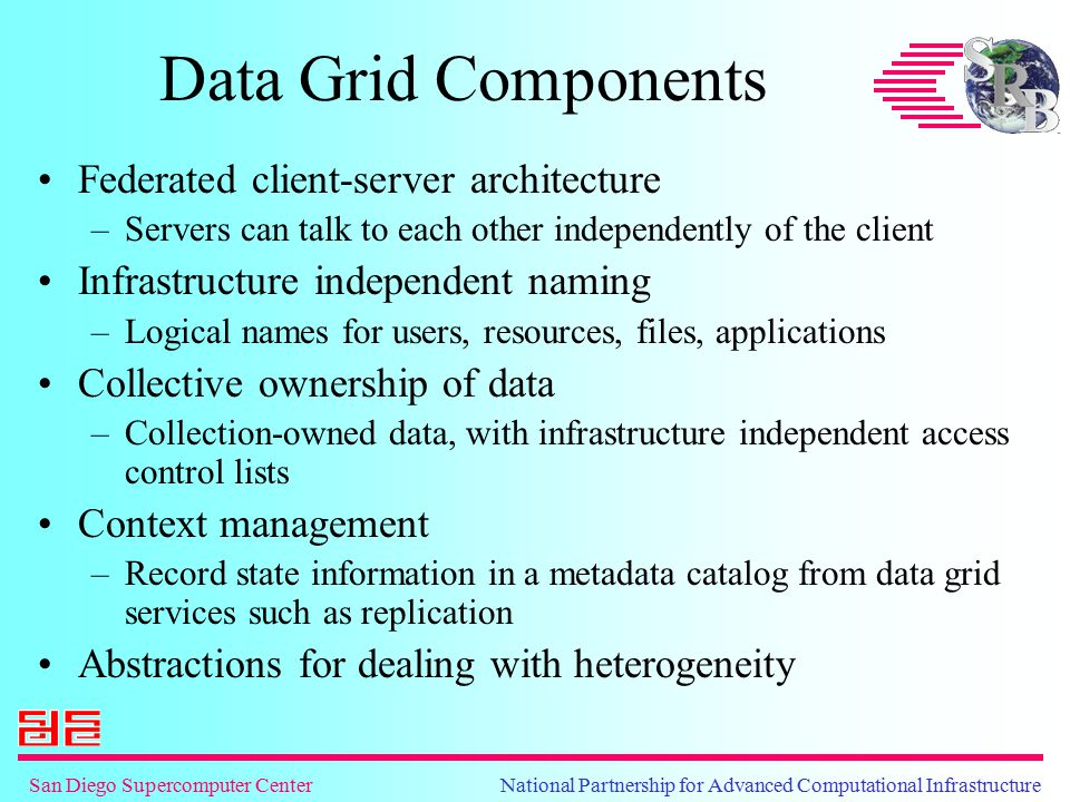 San Diego Supercomputer Center National Partnership for Advanced Computational Infrastructure Data Grid Abstractions Logical name space for files –Global persistent identifier Storage repository abstraction –Standard operations supported on storage systems Information repository abstraction –Standard operations to manage collections in databases Access abstraction –Standard interface to support alternate APIs Latency management mechanisms –Aggregation, parallel I/O, replication, caching Security interoperability –GSSAPI, inter-realm authentication, collection-based authorization