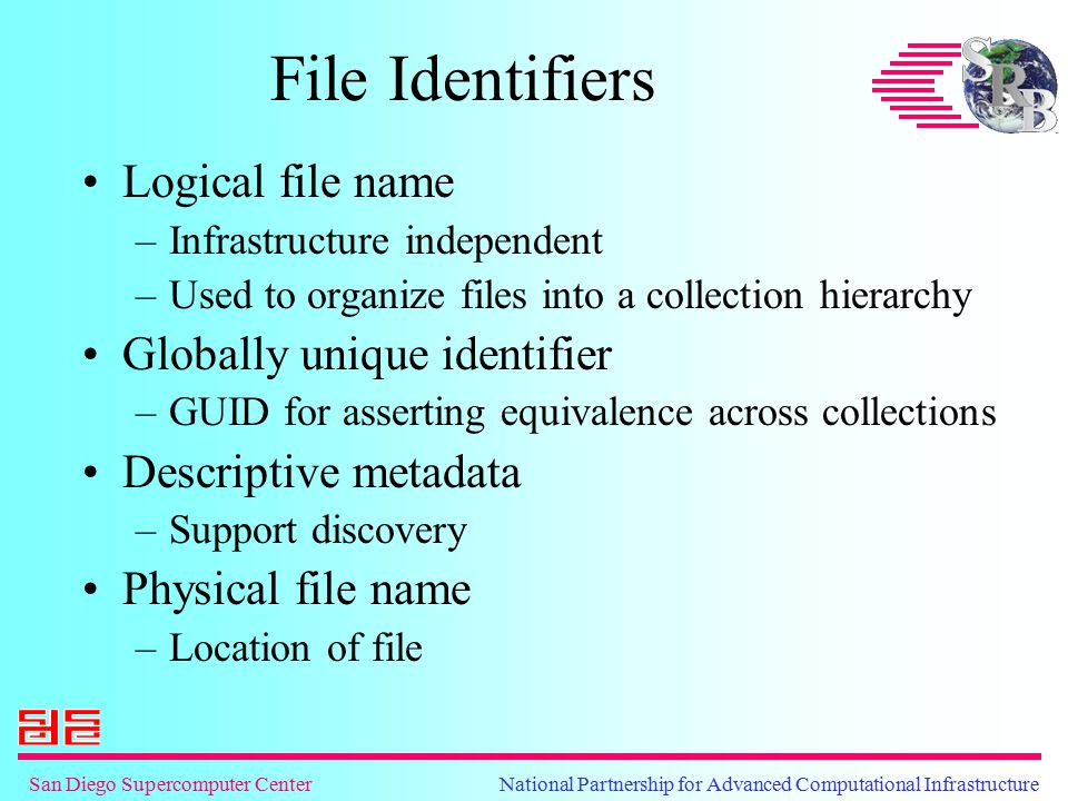 San Diego Supercomputer Center National Partnership for Advanced Computational Infrastructure File Identifiers Logical file name –Infrastructure independent –Used to organize files into a collection hierarchy Globally unique identifier –GUID for asserting equivalence across collections Descriptive metadata –Support discovery Physical file name –Location of file