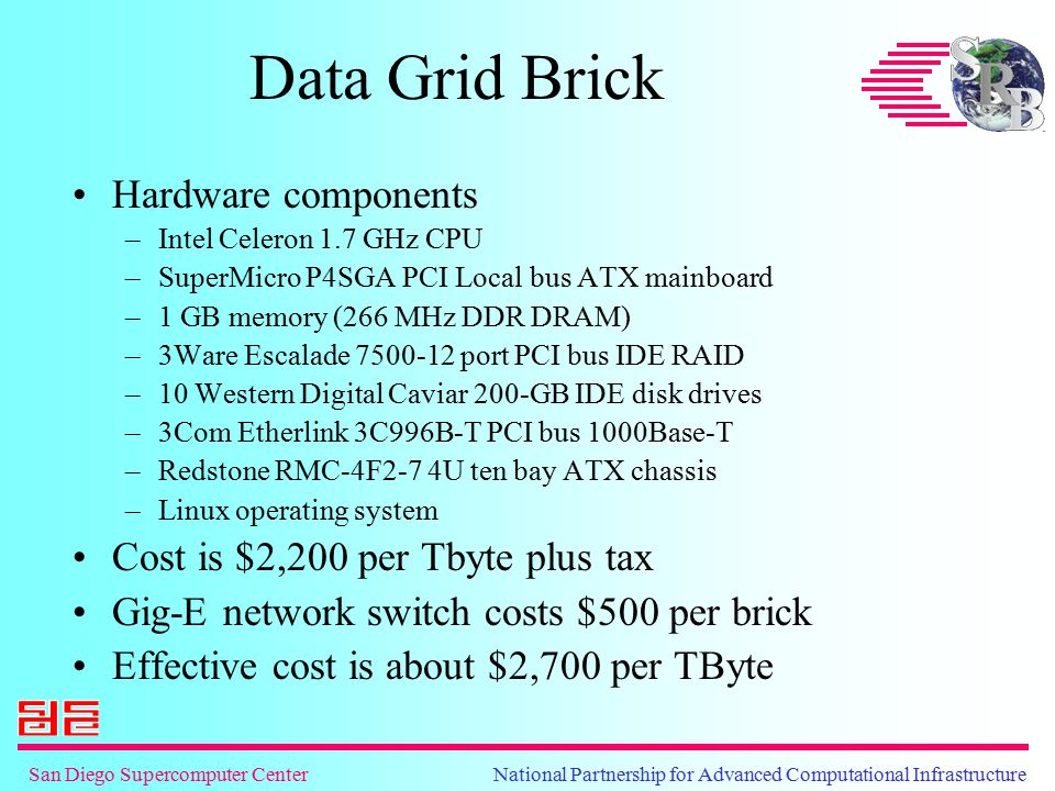 San Diego Supercomputer Center National Partnership for Advanced Computational Infrastructure Grid Bricks at SDSC Used to implement picking environments for 10-TB collections –Web-based access –Web services (WSDL/SOAP) for data subsetting Implemented 15-TBs of storage –Astronomy sky surveys, NARA prototype persistent archive, NSDL web crawls Must still apply Linux security patches to each Grid Brick