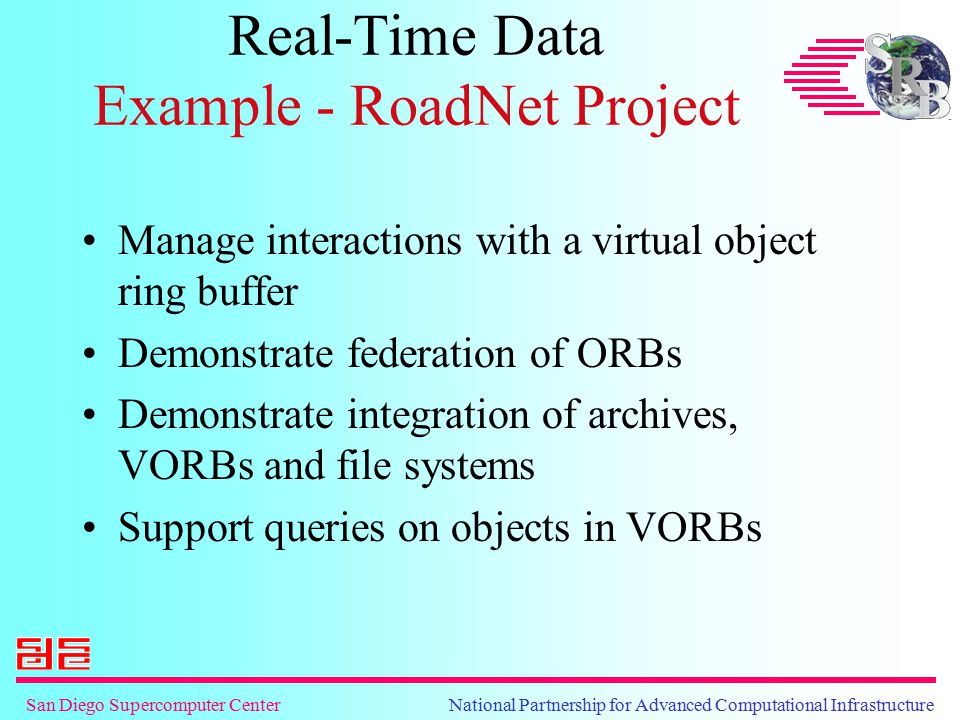 San Diego Supercomputer Center National Partnership for Advanced Computational Infrastructure Real-Time Data Example - RoadNet Project Manage interact