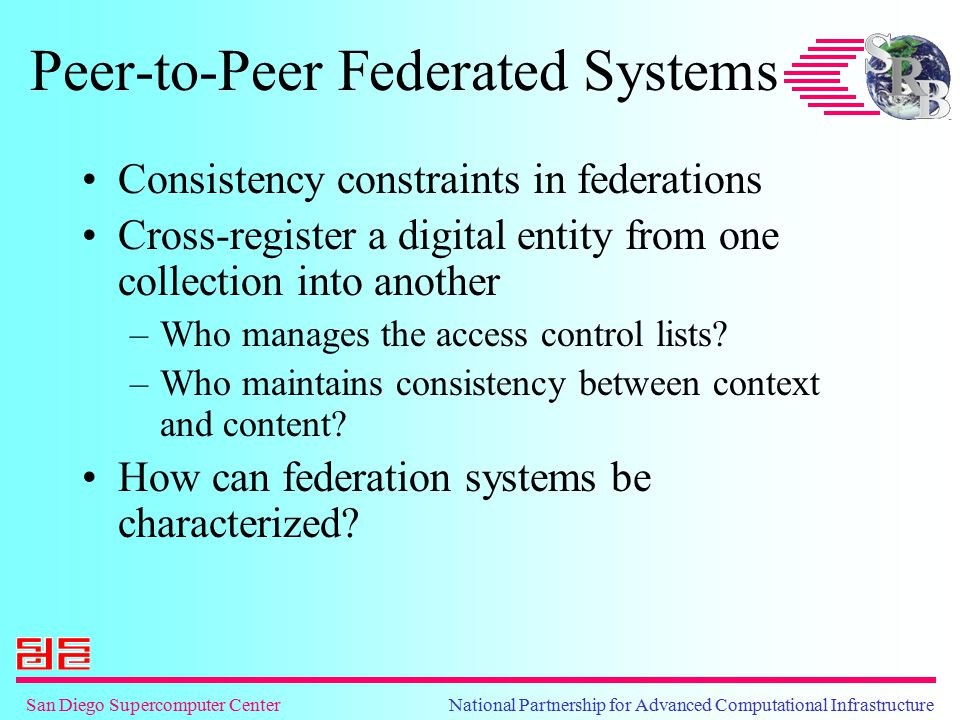 San Diego Supercomputer Center National Partnership for Advanced Computational Infrastructure Peer-to-Peer Federated Systems Consistency constraints in federations Cross-register a digital entity from one collection into another –Who manages the access control lists.