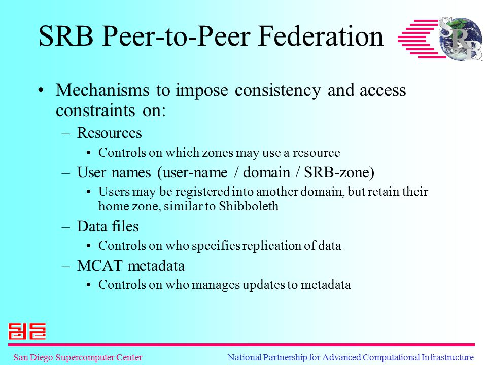 San Diego Supercomputer Center National Partnership for Advanced Computational Infrastructure SRB Peer-to-Peer Federation Mechanisms to impose consist