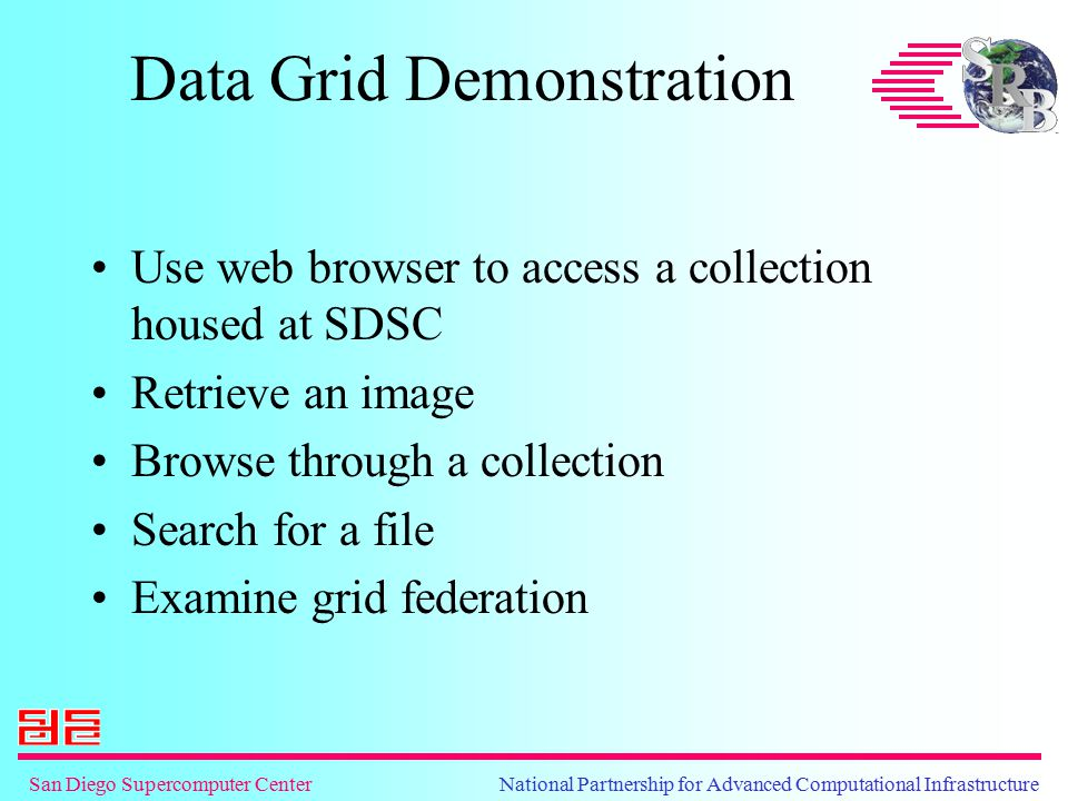 San Diego Supercomputer Center National Partnership for Advanced Computational Infrastructure Data Grid Demonstration Use web browser to access a coll