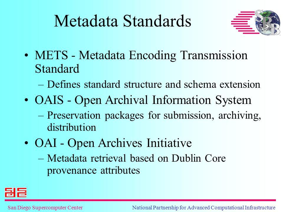 San Diego Supercomputer Center National Partnership for Advanced Computational Infrastructure Metadata Standards METS - Metadata Encoding Transmission