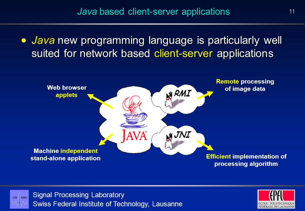 Signal Processing Laboratory Swiss Federal Institute of Technology, Lausanne 11 Java based client-server applications  Java new programming language is particularly well suited for network based client-server applications JNIRMI Machine independent stand-alone application Web browser applets Remote processing of image data Efficient implementation of processing algorithm