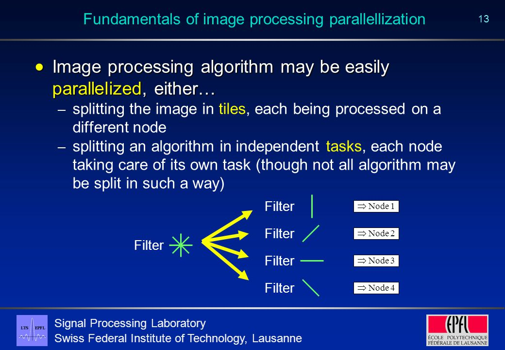 Signal Processing Laboratory Swiss Federal Institute of Technology, Lausanne 13 Fundamentals of image processing parallellization  Image processing algorithm may be easily parallelized, either… – splitting the image in tiles, each being processed on a different node – splitting an algorithm in independent tasks, each node taking care of its own task (though not all algorithm may be split in such a way) Filter  Node 1 Filter  Node 2 Filter  Node 3 Filter  Node 4