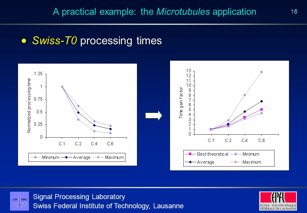 Signal Processing Laboratory Swiss Federal Institute of Technology, Lausanne 16 A practical example: the Microtubules application  Swiss-T0 processing times