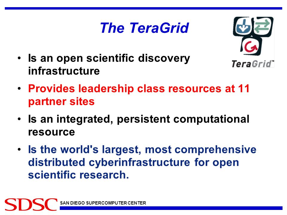 SAN DIEGO SUPERCOMPUTER CENTER The TeraGrid Is an open scientific discovery infrastructure Provides leadership class resources at 11 partner sites Is an integrated, persistent computational resource Is the world s largest, most comprehensive distributed cyberinfrastructure for open scientific research.