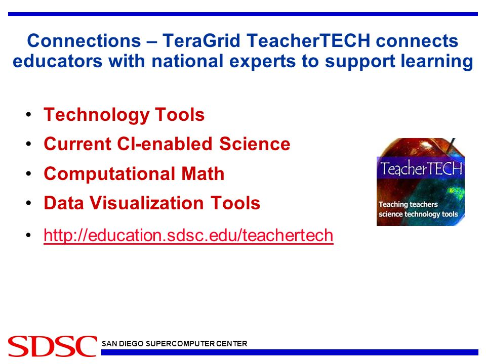 SAN DIEGO SUPERCOMPUTER CENTER Connections – TeraGrid TeacherTECH connects educators with national experts to support learning Technology Tools Current CI-enabled Science Computational Math Data Visualization Tools http://education.sdsc.edu/teachertech