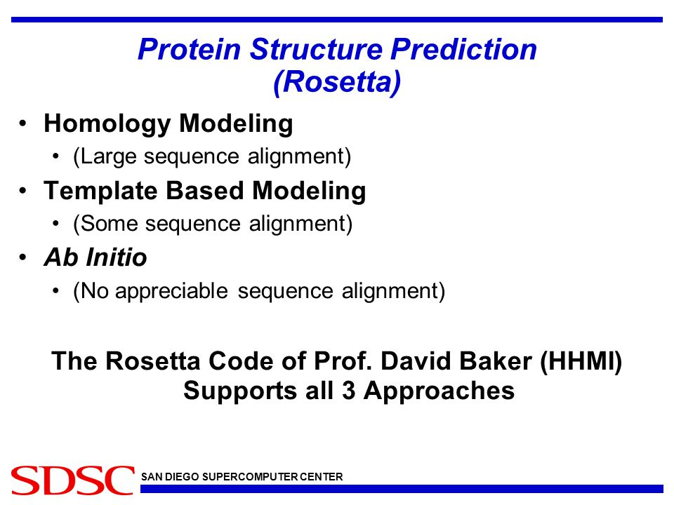 SAN DIEGO SUPERCOMPUTER CENTER Template Based Predictions Used for the majority of CASP targets Align sequence with proteins of known structure Generate initial decoy structures Do a monte-carlo refinement of the structures Structures with lowest energy should be the native structure.
