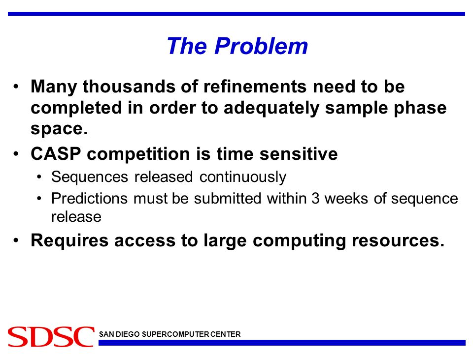 The Problem Many thousands of refinements need to be completed in order to adequately sample phase space.