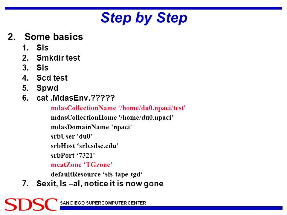 SAN DIEGO SUPERCOMPUTER CENTER Step by Step 2.Some basics 1.Sls 2.Smkdir test 3.Sls 4.Scd test 5.Spwd 6.cat.MdasEnv.????? mdasCollectionName '/home/du