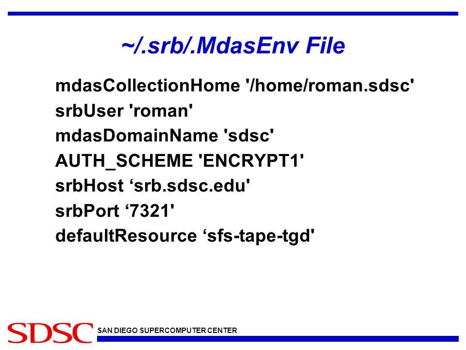 SAN DIEGO SUPERCOMPUTER CENTER ~/.srb/.MdasEnv File mdasCollectionHome '/home/roman.sdsc' srbUser 'roman' mdasDomainName 'sdsc' AUTH_SCHEME 'ENCRYPT1'