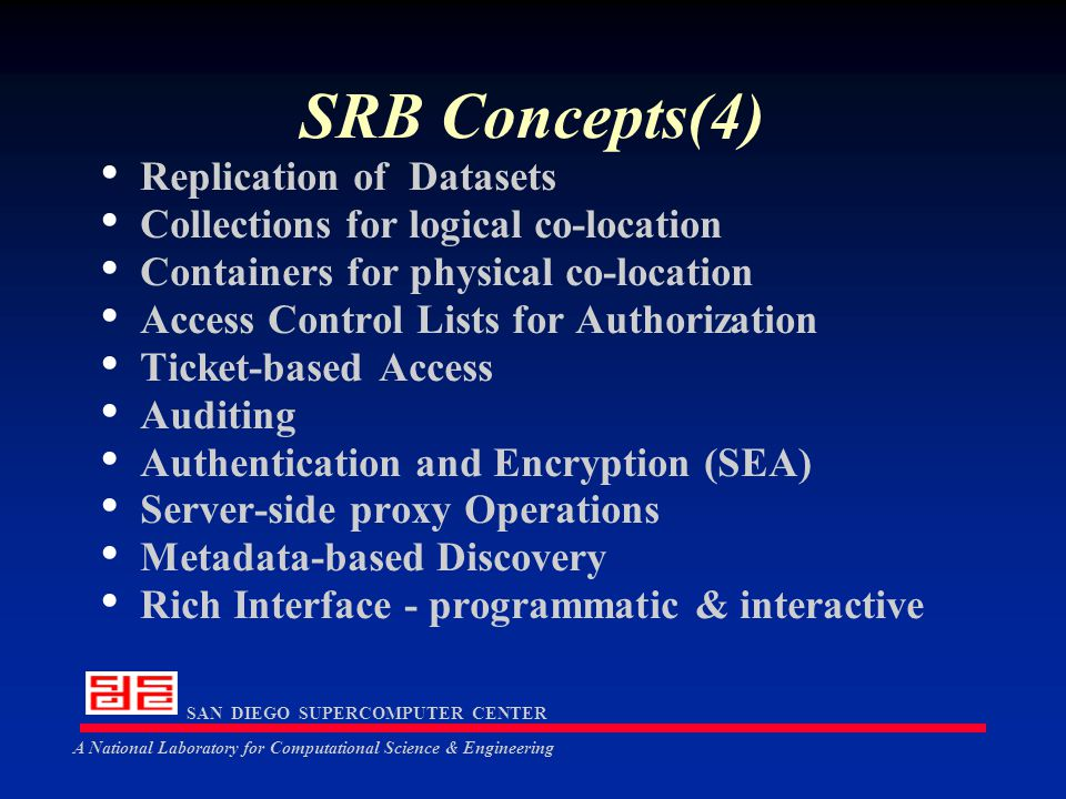 SAN DIEGO SUPERCOMPUTER CENTER A National Laboratory for Computational Science & Engineering SRB Concepts(4) Replication of Datasets Collections for logical co-location Containers for physical co-location Access Control Lists for Authorization Ticket-based Access Auditing Authentication and Encryption (SEA) Server-side proxy Operations Metadata-based Discovery Rich Interface - programmatic & interactive