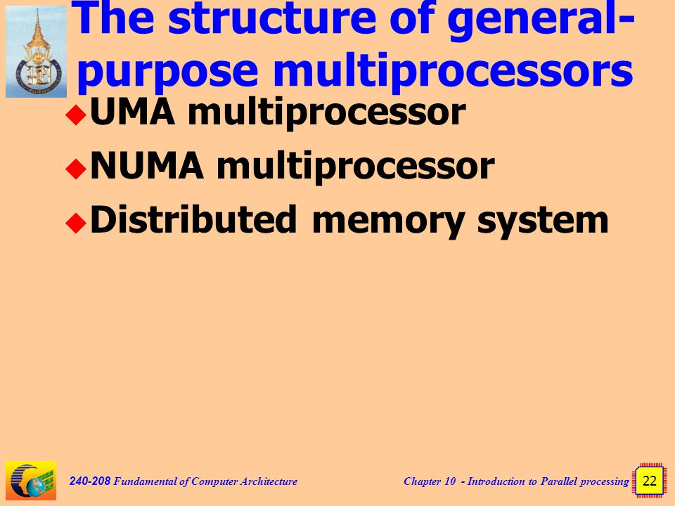 Chapter 10 - Introduction to Parallel processing 22 240-208 Fundamental of Computer Architecture The structure of general- purpose multiprocessors  UMA multiprocessor  NUMA multiprocessor  Distributed memory system
