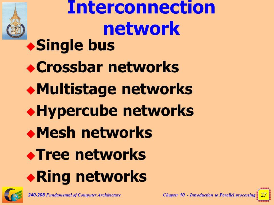 Chapter 10 - Introduction to Parallel processing 27 240-208 Fundamental of Computer Architecture Interconnection network  Single bus  Crossbar networks  Multistage networks  Hypercube networks  Mesh networks  Tree networks  Ring networks