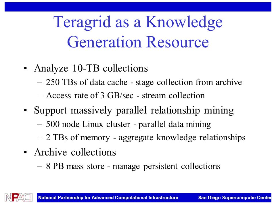 National Partnership for Advanced Computational Infrastructure San Diego Supercomputer Center Teragrid as a Knowledge Generation Resource Analyze 10-TB collections –250 TBs of data cache - stage collection from archive –Access rate of 3 GB/sec - stream collection Support massively parallel relationship mining –500 node Linux cluster - parallel data mining –2 TBs of memory - aggregate knowledge relationships Archive collections –8 PB mass store - manage persistent collections