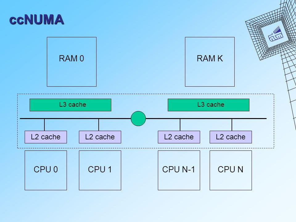 ccNUMA CPU 0 RAM 0 L2 cache CPU 1 L3 cache L2 cache CPU N-1 L2 cache CPU N L3 cache RAM K