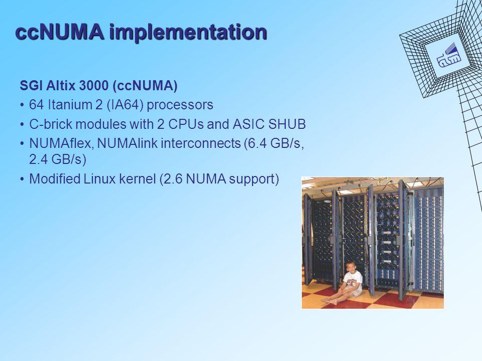 ccNUMA implementation SGI Altix 3000 (ccNUMA) 64 Itanium 2 (IA64) processors C-brick modules with 2 CPUs and ASIC SHUB NUMAflex, NUMAlink interconnects (6.4 GB/s, 2.4 GB/s) Modified Linux kernel (2.6 NUMA support)