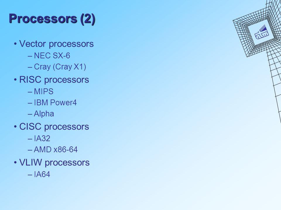 Processors (2) Vector processors –NEC SX-6 –Cray (Cray X1) RISC processors –MIPS –IBM Power4 –Alpha CISC processors –IA32 –AMD x86-64 VLIW processors –IA64