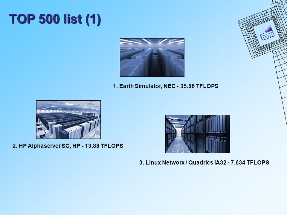 TOP 500 list (1) 1.Earth Simulator, NEC - 35.86 TFLOPS 2.