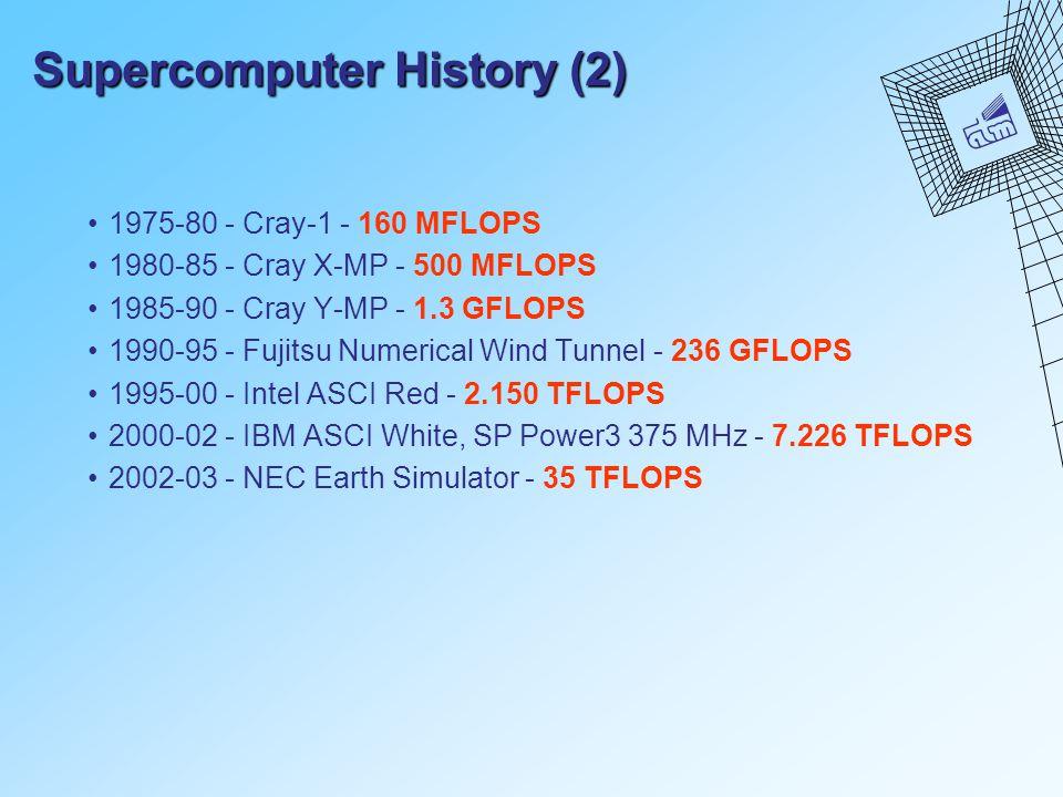 Supercomputer History (2) 1975-80 - Cray-1 - 160 MFLOPS 1980-85 - Cray X-MP - 500 MFLOPS 1985-90 - Cray Y-MP - 1.3 GFLOPS 1990-95 - Fujitsu Numerical Wind Tunnel - 236 GFLOPS 1995-00 - Intel ASCI Red - 2.150 TFLOPS 2000-02 - IBM ASCI White, SP Power3 375 MHz - 7.226 TFLOPS 2002-03 - NEC Earth Simulator - 35 TFLOPS