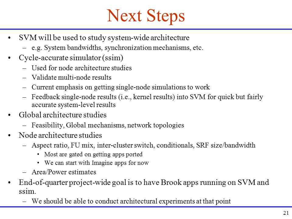 21 Next Steps SVM will be used to study system-wide architecture –e.g.