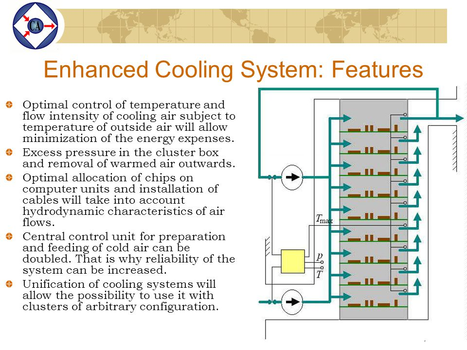 7 Enhanced Cooling System: Features Optimal control of temperature and flow intensity of cooling air subject to temperature of outside air will allow minimization of the energy expenses.