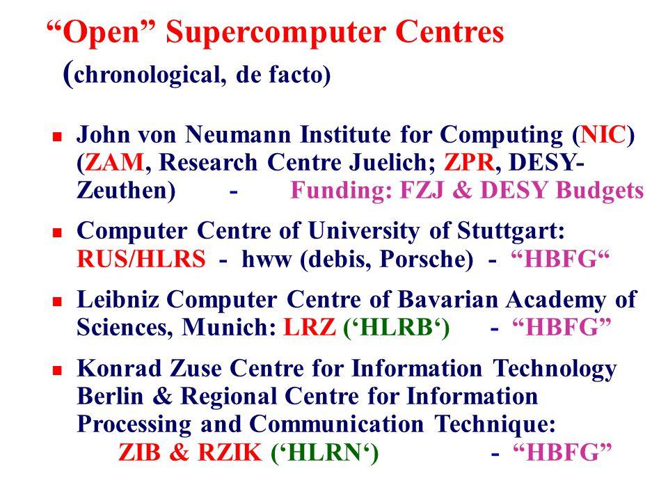 Open Supercomputer Centres ( chronological, de facto) n John von Neumann Institute for Computing (NIC) (ZAM, Research Centre Juelich; ZPR, DESY- Zeuthen) - Funding: FZJ & DESY Budgets n Computer Centre of University of Stuttgart: RUS/HLRS - hww (debis, Porsche) - HBFG n Leibniz Computer Centre of Bavarian Academy of Sciences, Munich: LRZ ('HLRB') - HBFG n Konrad Zuse Centre for Information Technology Berlin & Regional Centre for Information Processing and Communication Technique: ZIB & RZIK ('HLRN') - HBFG