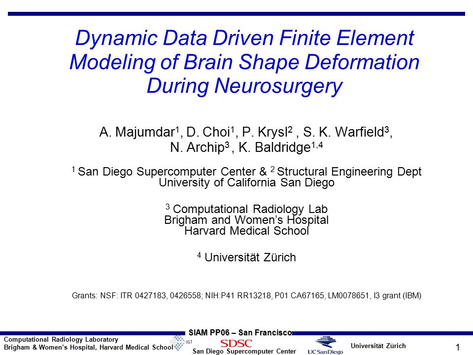 Universität Zürich San Diego Supercomputer Center Computational Radiology Laboratory Brigham & Women's Hospital, Harvard Medical School SIAM PP06 – San Francisco 1 Dynamic Data Driven Finite Element Modeling of Brain Shape Deformation During Neurosurgery A.