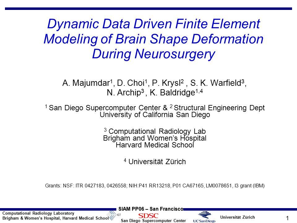 Universität Zürich San Diego Supercomputer Center Computational Radiology Laboratory Brigham & Women's Hospital, Harvard Medical School SIAM PP06 – San Francisco 32 Current DDDAS vs.