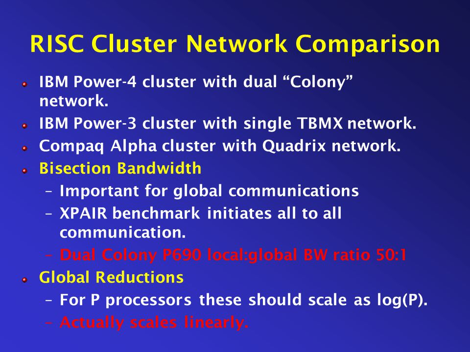 RISC Cluster Network Comparison IBM Power-4 cluster with dual Colony network.