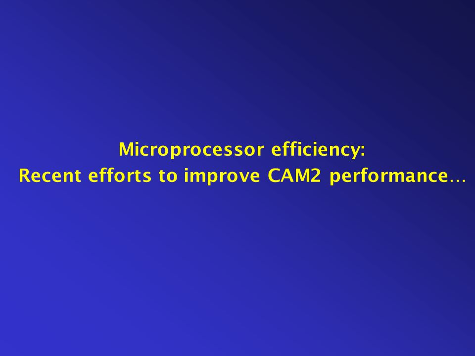 Microprocessor efficiency: Recent efforts to improve CAM2 performance…
