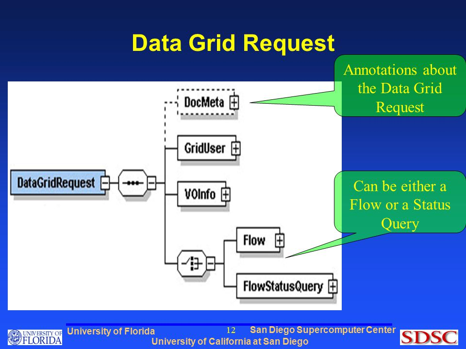 San Diego Supercomputer Center University of California at San Diego University of Florida 12 Data Grid Request Annotations about the Data Grid Request Can be either a Flow or a Status Query
