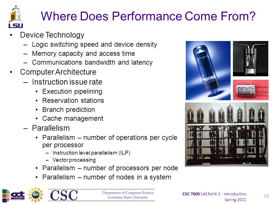 CSC 7600 Lecture 1 : Introduction Spring 2011 10 Where Does Performance Come From.