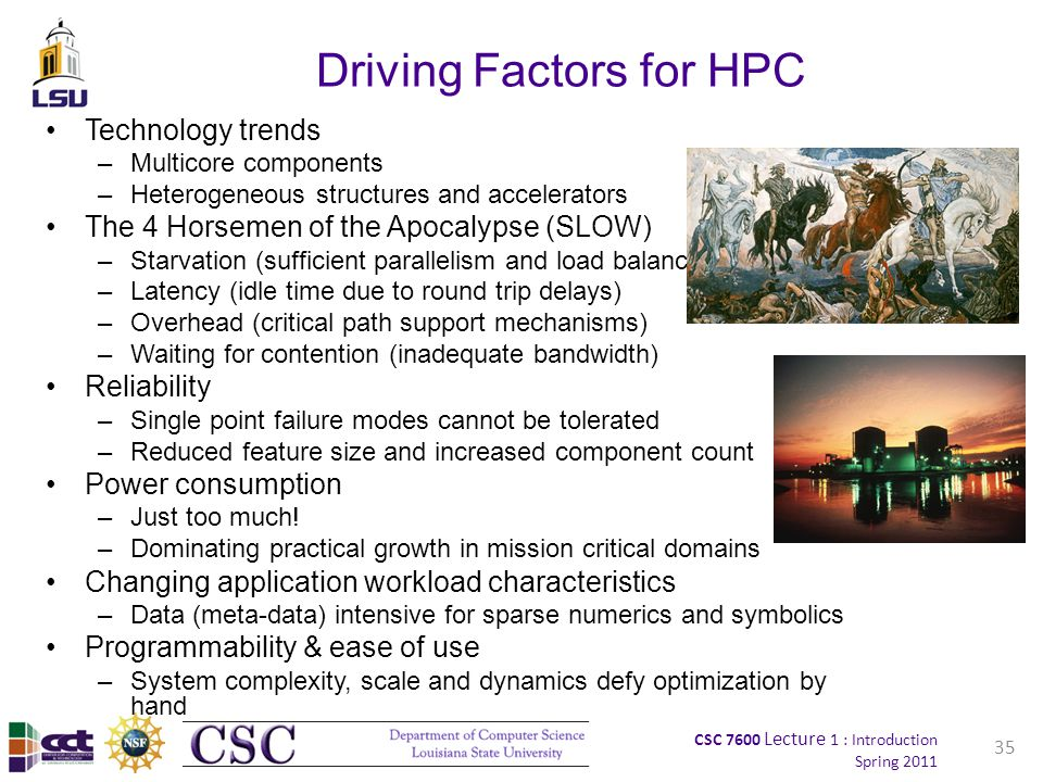 CSC 7600 Lecture 1 : Introduction Spring 2011 35 Driving Factors for HPC Technology trends –Multicore components –Heterogeneous structures and accelerators The 4 Horsemen of the Apocalypse (SLOW) –Starvation (sufficient parallelism and load balancing) –Latency (idle time due to round trip delays) –Overhead (critical path support mechanisms) –Waiting for contention (inadequate bandwidth) Reliability –Single point failure modes cannot be tolerated –Reduced feature size and increased component count Power consumption –Just too much.