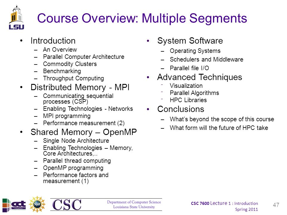 CSC 7600 Lecture 1 : Introduction Spring 2011 47 Course Overview: Multiple Segments Introduction –An Overview –Parallel Computer Architecture –Commodity Clusters –Benchmarking –Throughput Computing Distributed Memory - MPI –Communicating sequential processes (CSP) –Enabling Technologies - Networks –MPI programming –Performance measurement (2) Shared Memory – OpenMP –Single Node Architecture –Enabling Technologies – Memory, Core Architectures,..