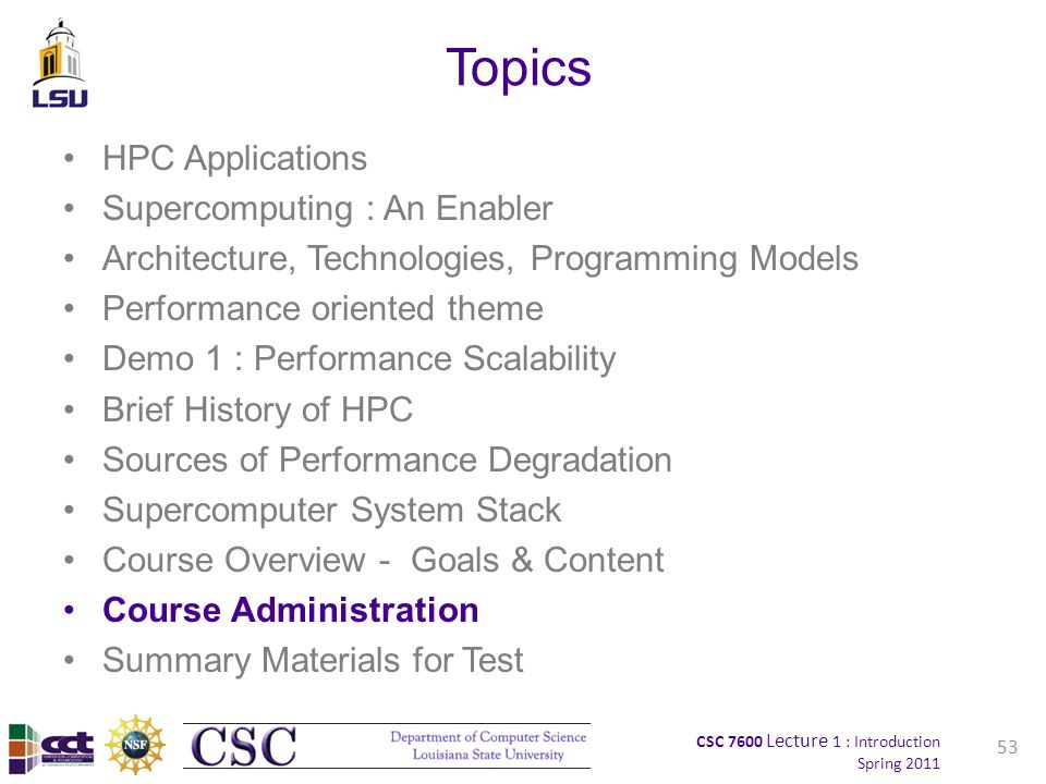 CSC 7600 Lecture 1 : Introduction Spring 2011 Topics HPC Applications Supercomputing : An Enabler Architecture, Technologies, Programming Models Performance oriented theme Demo 1 : Performance Scalability Brief History of HPC Sources of Performance Degradation Supercomputer System Stack Course Overview - Goals & Content Course Administration Summary Materials for Test 53