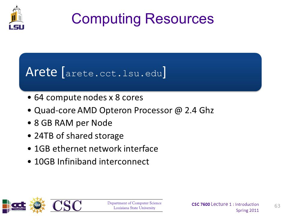 CSC 7600 Lecture 1 : Introduction Spring 2011 63 Computing Resources Arete [ arete.cct.lsu.edu ] 64 compute nodes x 8 cores Quad-core AMD Opteron Processor @ 2.4 Ghz 8 GB RAM per Node 24TB of shared storage 1GB ethernet network interface 10GB Infiniband interconnect