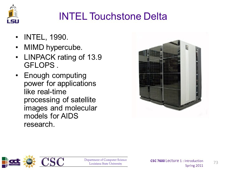 CSC 7600 Lecture 1 : Introduction Spring 2011 INTEL Touchstone Delta INTEL, 1990.