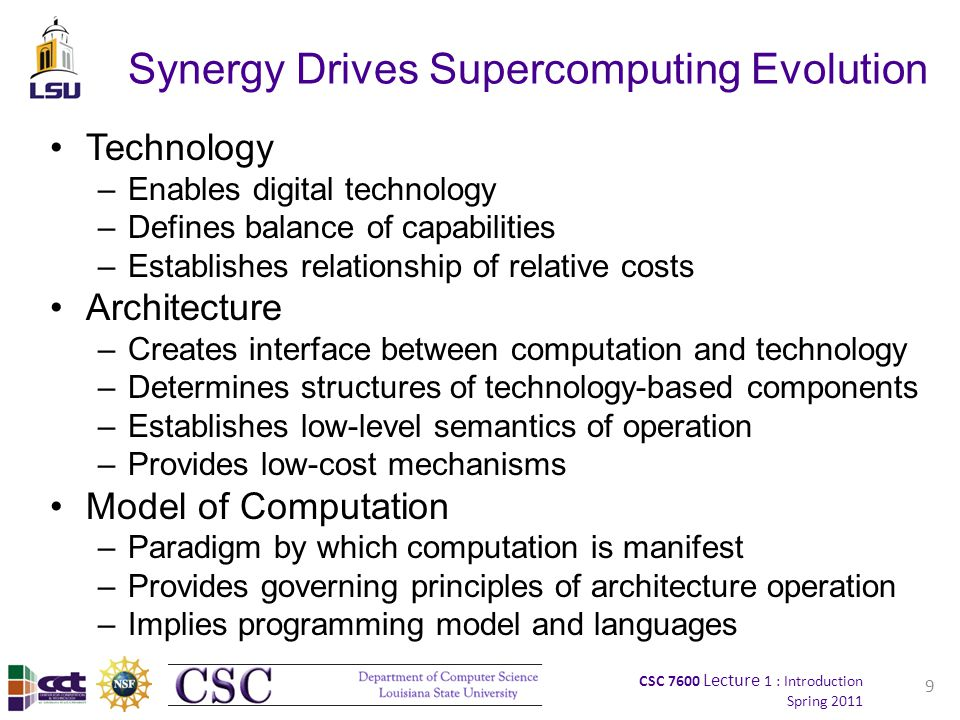 CSC 7600 Lecture 1 : Introduction Spring 2011 9 Synergy Drives Supercomputing Evolution Technology –Enables digital technology –Defines balance of capabilities –Establishes relationship of relative costs Architecture –Creates interface between computation and technology –Determines structures of technology-based components –Establishes low-level semantics of operation –Provides low-cost mechanisms Model of Computation –Paradigm by which computation is manifest –Provides governing principles of architecture operation –Implies programming model and languages