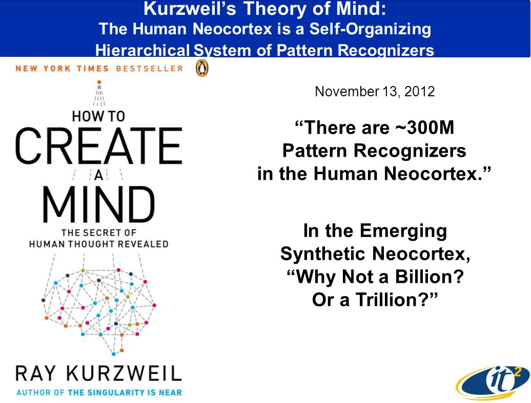 Kurzweil's Theory of Mind: The Human Neocortex is a Self-Organizing Hierarchical System of Pattern Recognizers There are ~300M Pattern Recognizers in the Human Neocortex. In the Emerging Synthetic Neocortex, Why Not a Billion.