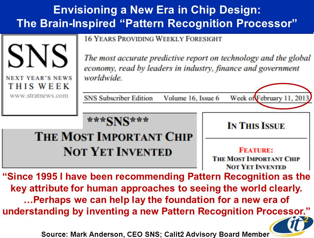 Envisioning a New Era in Chip Design: The Brain-Inspired Pattern Recognition Processor Source: Mark Anderson, CEO SNS; Calit2 Advisory Board Member Since 1995 I have been recommending Pattern Recognition as the key attribute for human approaches to seeing the world clearly.