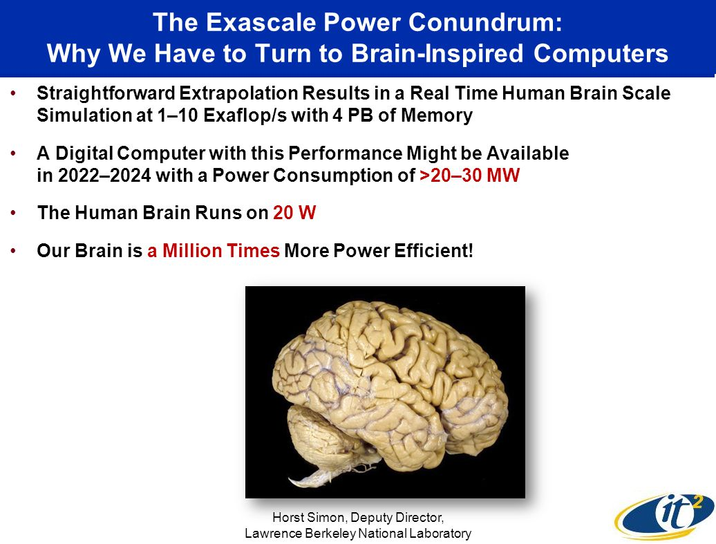 The Exascale Power Conundrum: Why We Have to Turn to Brain-Inspired Computers Straightforward Extrapolation Results in a Real Time Human Brain Scale Simulation at 1–10 Exaflop/s with 4 PB of Memory A Digital Computer with this Performance Might be Available in 2022–2024 with a Power Consumption of >20–30 MW The Human Brain Runs on 20 W Our Brain is a Million Times More Power Efficient.
