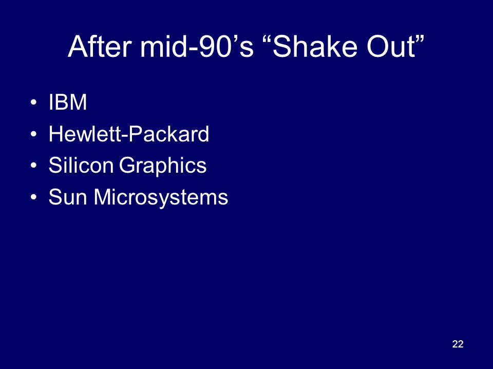 22 After mid-90's Shake Out IBM Hewlett-Packard Silicon Graphics Sun Microsystems