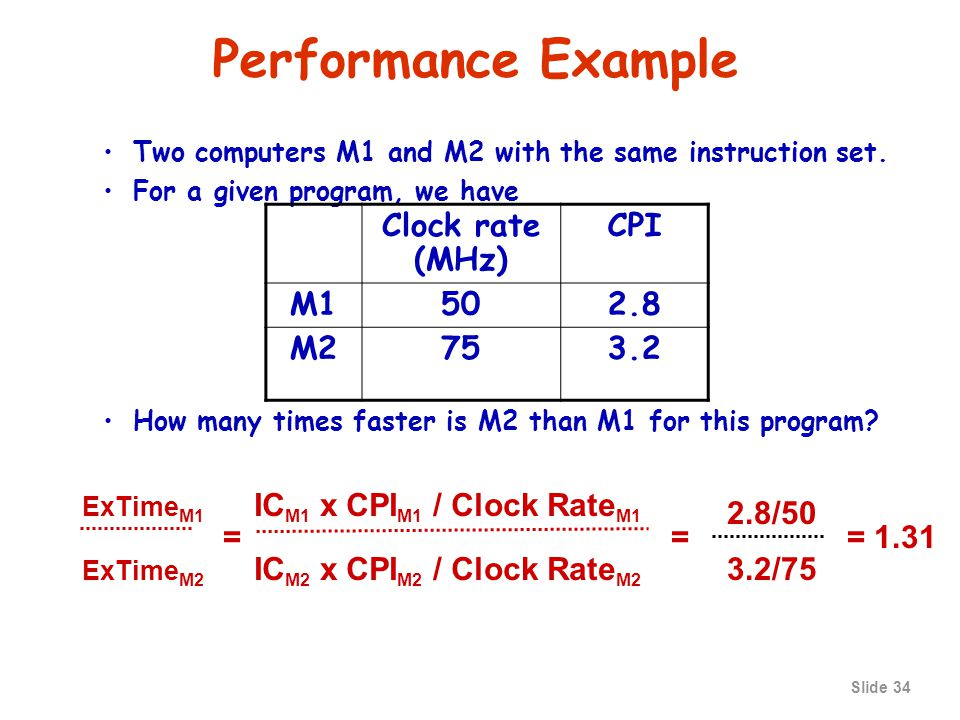 Slide 33 Example of Computing CPU time If a computer has a clock rate of 2 GHz, how long does it take to execute a program with 1,000,000 instructions, if the CPI for the program is 3.5.