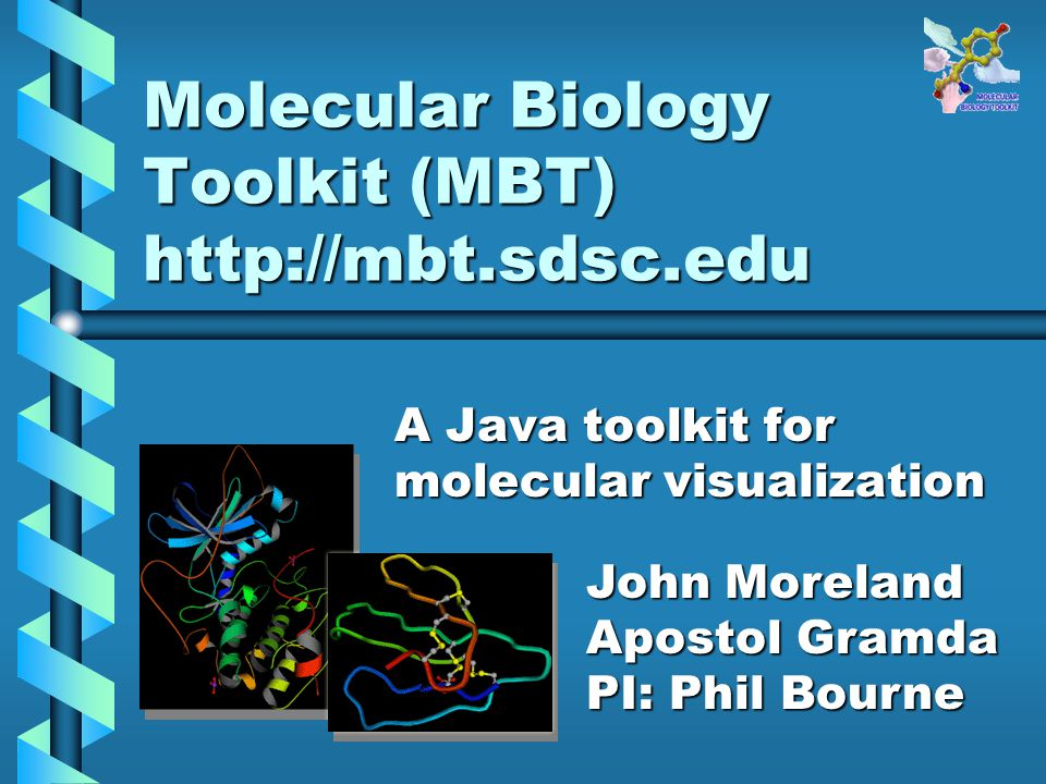 Molecular Biology Toolkit (MBT) http://mbt.sdsc.edu A Java toolkit for molecular visualization John Moreland Apostol Gramda PI: Phil Bourne